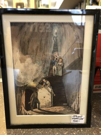 19th century. A watercolor scene of people in 19th century clothing descending down stairs into a ca...