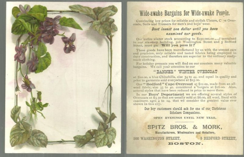 VICTORIAN TRADE CARD FOR SPITZ BROS. AND MORK WITH VIOLETS, Advertisement