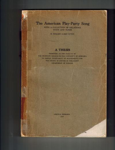 Lincoln, Nebraska: University of Nebraska, 1937. A notable folklore Association Copy, SIGNED AND INS...