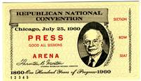 1960 Press ticket to the Republican National Convention