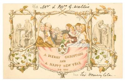 London: [De La Rue & Co, 1881. Chromolithographed card. (3-1/4 x 5-1/8 in.; 83 x 130 mm). Remnants o...