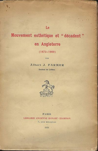 Paris: Librarie Ancienne Honore Champion, 1931. First Edition. Signed presentation from Farmer on th...