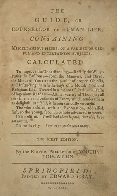 Springfield, : Printed by Edward Gray, 1794. First edition. 8vo. 17 cm. ix, , 12-191, pp. Period ful...