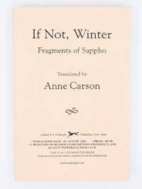 If Not, Winter; Fragments of Sappho