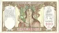 French Indochina, Papeete, Tahiti 100 CFP Franc Banknote / Currency (Pick # 14) Papeete, French Polynesia (1939 Series)