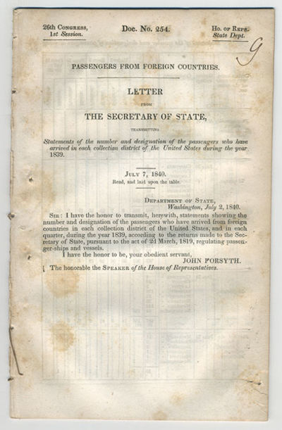 . 8vo. 25 pp.. Government document: 26th Congress, 1st Session. Doc. No. 254. Ho. of Reps. State Dep...