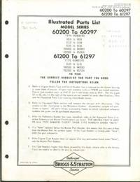 Briggs & Stratton Model 60200-97 61200-97 & 61200-97 Illustrated Parts List