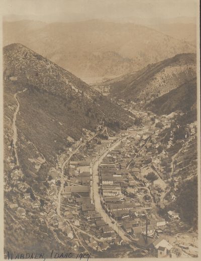 Very Good. Four albumen prints of the small silver-mining town of Wardner, Idaho. All images are ide...