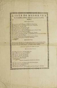 Liste de Messieurs les Conseillers d'Estate ordinaires pour les Conseils du Roy