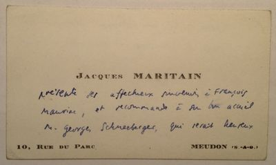 Meudon, France, 1960. unbound. very good. 2 x 3.5 inches, Meudon, France, no date, circa 1960. Unsig...