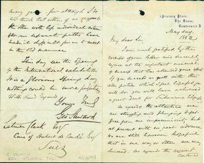 1862. Very Good. Saward, George. A.L.s. to Latimer Clark. Camberwell,