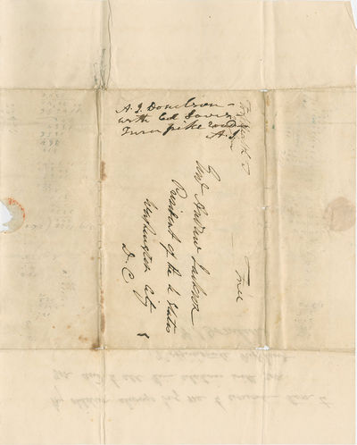 ANDREW JACKSON. Autograph Endorsement Signed with Initials, ca January 1837. On ANDREW JACKSON DONEL...