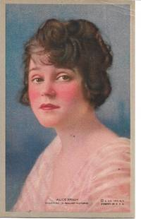 image of Alice Bracy, American Silent Movie Actress, Colored Portrait on White Bordered Postcard
