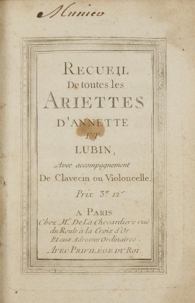 Paris: Lesclapart, quai de Gêvres, 1762. 1f. (recto title, verso blank), 28 pp. Engraved. Text and ...