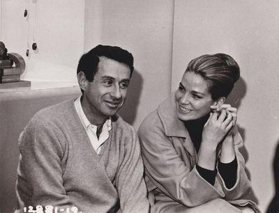 N.p.: N.p., 1965. Vintage borderless reference photograph of director Arthur Penn and actress Alexan...