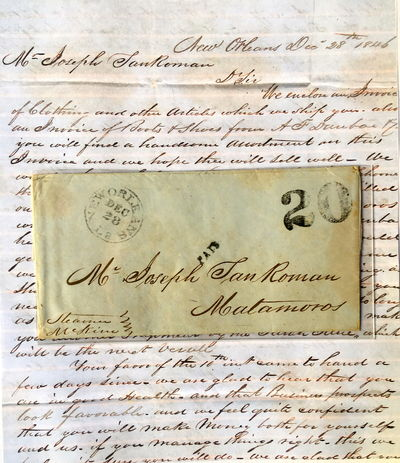 This important two-page folded letter documents the launch of the entrepreneurial career of a Hispan...