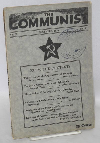 New York: Communist Party, USA, 1931. p. 963-1056, wraps mildly worn, large but blurry rubberstamp o...