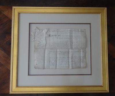 April 5, 1787. Framed land grant to Lt. John Armstrong on vellum with affixed State of Pennsylvania ...