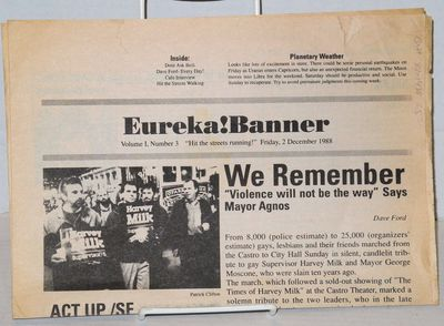 San Francisco: Eureka! Banner, 1988. Newspaper. includes covers, folded tabloid newspaper, photos, s...