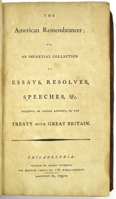 Philadelphia: Printed by Henry Tuckniss, for Mathew Carey., 1795. Volume only. 288pp. Bound in conte...