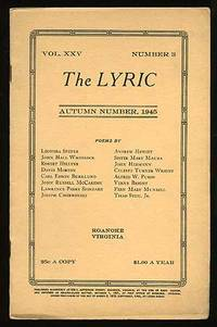 Roanoke, VA: The Lyric, 1945. Softcover. Near Fine. Vol. XXV, no. 3. Near fine in stapled wrappers w...