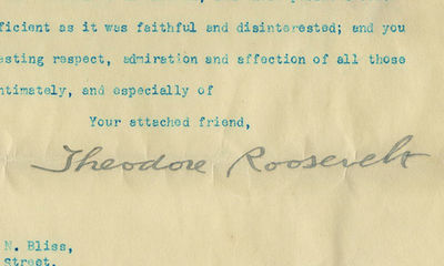 26/03/1906. Perhaps the most significant letter on government TR ever wrote to reach the market, dir...