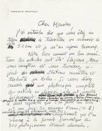 image of Autograph letter signed from Francois Truffaut to Alfred Hitchcock regarding
