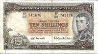 Australia 10 Shilling Banknote 1954 (Half Pound) - FINE by H.C. Coombs / Roland Wilson - 1954 - from Paper Time Machines (SKU: 5121)