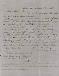 1863 Civil War era domestic letter regarding a response to a telegram sent by the Sisters of the Visitation in Mobile, Alabama to pick up Martina Luckett, daughter of Mr. Luckett