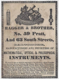 Early trade label of Hagger & Brother of No 59 Pratt, and 63 South Streets, Baltimore,...