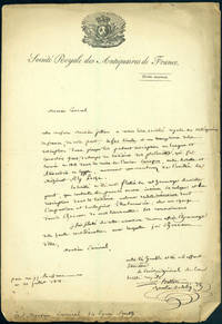 Autograph letter signed to Sir Sidney Smith, with enclosed ms. description of an old Egyptian plaque in another hand