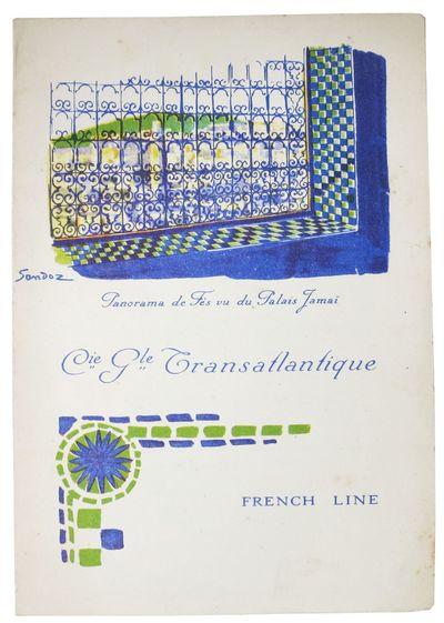 (n.p.), 1924. 1st Printing. White card stock self wrapper, printed in blue and green. Menu items pri...