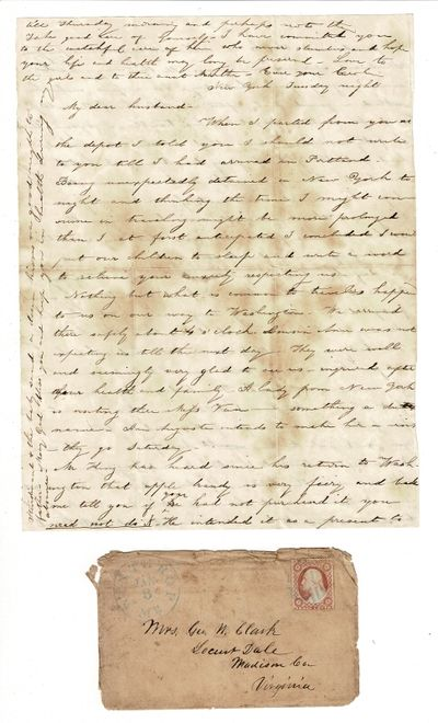 New York, 1851. Two letters from Caroline Clark to her husband George, concerning a trip she is taki...