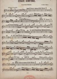 image of ERSTE SINFONIE [First Symphony in D Major, H.663 Wq. 183:1]. Lot of Parts: (1) Flauto Primo, (Partial*) Violino Primo, (2) Violino Secundo, (2) Violone, (2) Viola, (2) Violincello.