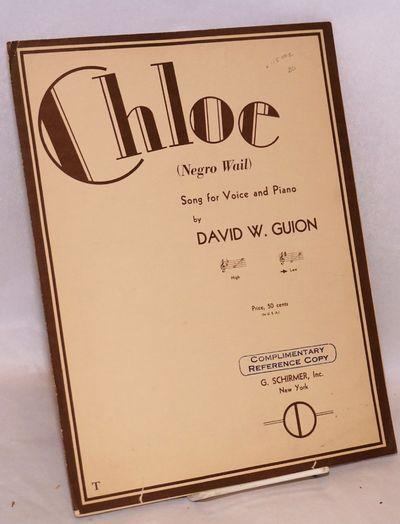 New York: G. Schirmer, 1936. 6p., 9x12 inches, wraps with minor edgewear.. Sheet music.