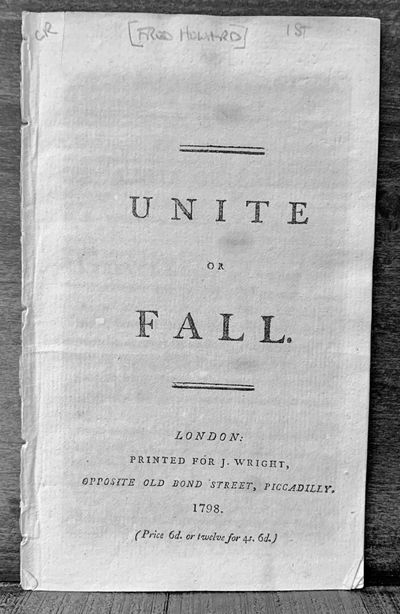 London: John Evans, 1768. First edition. Wraps. Orig. printed buff wrappers. Very good. 8 pages. 11 ...