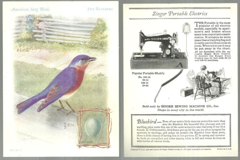VICTORIAN TRADE CARD FOR SINGER SEWING MACHINE AMERICAN SONG BIRDS SERIES THE BLUEBIRD, Advertisement