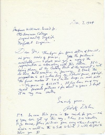 The letter sent to W. Dominion College, Department of English, Norfolk, VA and it reads,