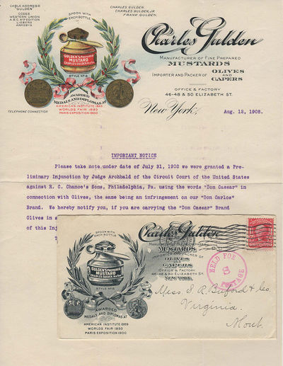 New York: Charles Gulden, 1908. Envelope or Cover. Very good. This colorful letter from Gulden's Mus...