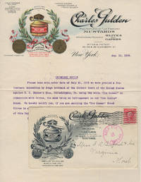 Illustrated letterhead for Gulden's Mustard, Capers, and Olives with its accompanying illustrated advertising cover