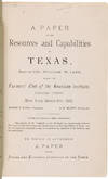 View Image 2 of 2 for A PAPER ON THE RESOURCES AND CAPABILITIES OF TEXAS, READ...BEFORE THE FARMER'S CLUB OF THE AMERICAN ... Inventory #WRCAM55509