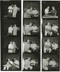 image of Louis Armstrong and Gary Crosby (Original contact sheet, cut into three strips and an enlargement of four of the photos from the 1955 radio show)