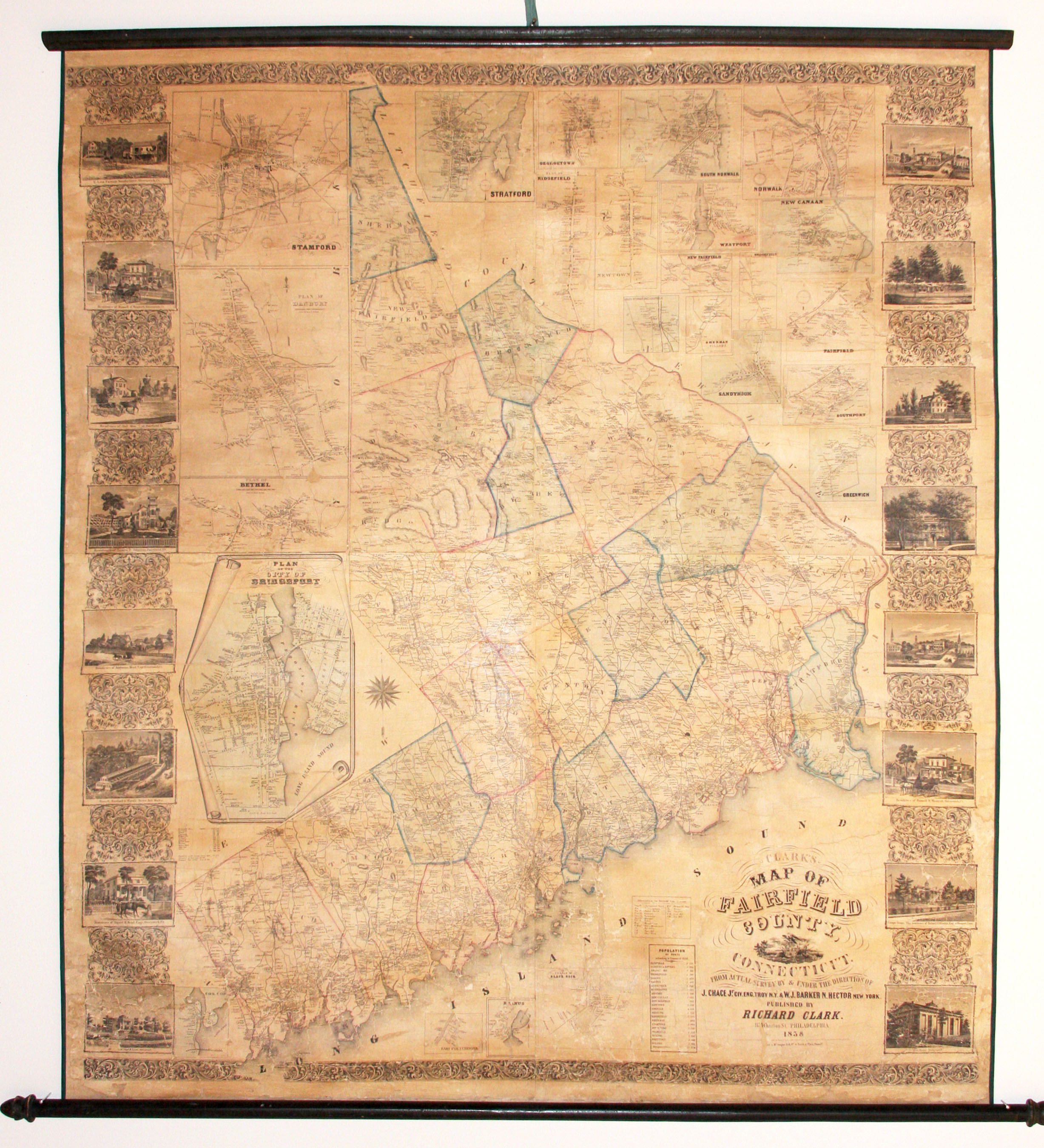 Clarks\' Map of Fairfield County, Connecticut by R CLARK - First Edition -  1858 - from Martayan Lan, Inc. and Biblio.com