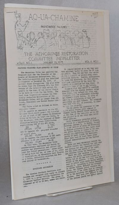 Keshena, WI: the newsletter, 1975. 9p., legal-size mimeograph paper, text typed double-column and mi...