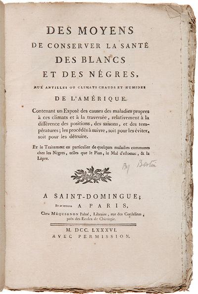 A Saint-Domingue; et se trouve a Paris: Chez Mequignon, 1786. ,126 pp., with the pagination omitting...