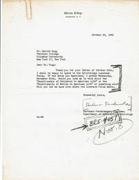 image of TYPED LETTER TO EDUCATOR HAROLD RUGG SIGNED BY AMERICAN ANTHROPOLOGIST HORTENSE POWDERMAKER, BEST KNOWN FOR HER ETHNOGRAPHIC STUDIES OF RURAL AFRICAN AMERICANS AND OF HOLLYWOOD.
