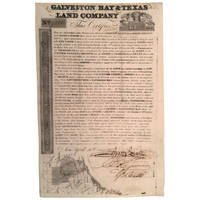 Galveston Bay & Texas Land Company Scrip No. 7285 for One Labor, Containing 177-136/1000 English Acres