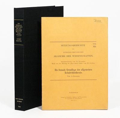 Berlin: Königlichen Akademie der Wissenschaften, 1914. FIRST EDITION OFFPRINT. Original wrappers. F...