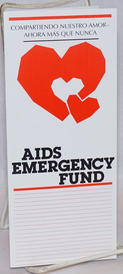 San Francisco: AIDS Emergency Fund, 1980. Six-panel brochure folded to 3.5x8.5 inches, text in Spani...