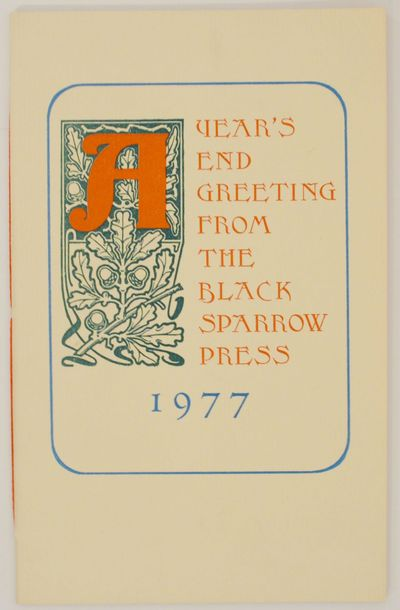 Santa Barbara, CA: Black Sparrow Press, 1977. First edition. Softcover. A single poem issued as a Ch...